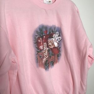 Vintage Sweaters - Vintage Pink Puff Paint Kitten Sweater | Large